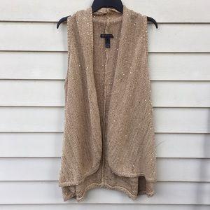 INC Sweater Vest Duster Gold Shimmer XL Long Bling